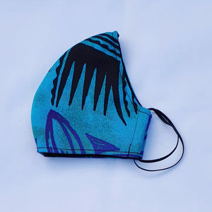 Triple layer fabric face mask -  Teal/Purple Print