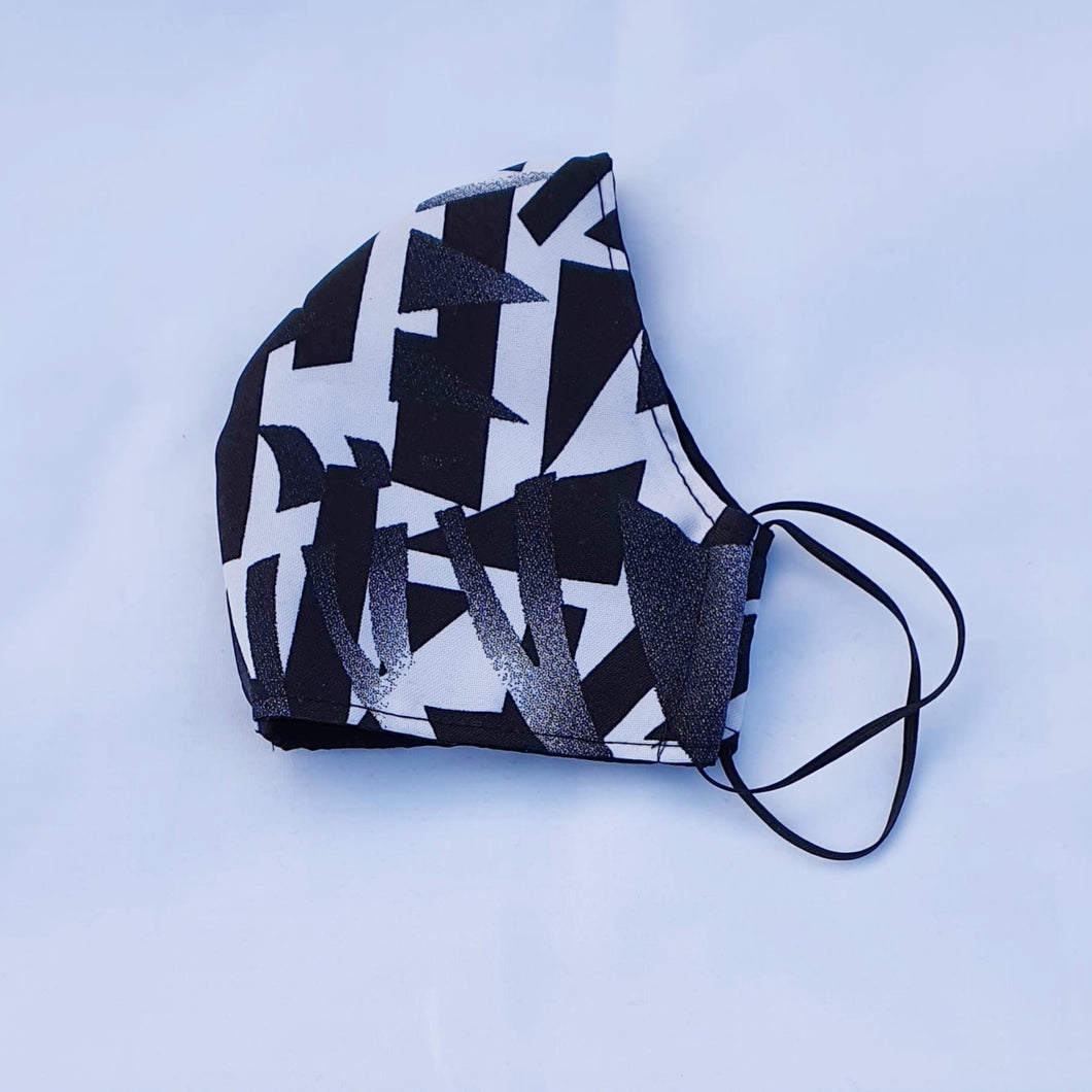 Triple layer fabric face mask - Black/White Print