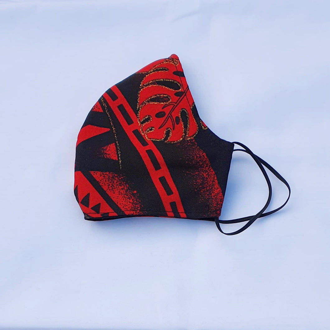 Triple layer fabric face mask - Red/Gold Print