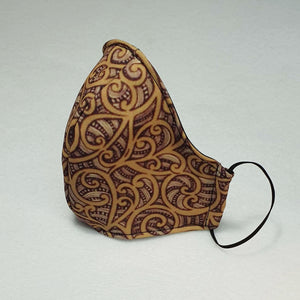 Triple layer fabric face mask -  Brown Maori Print
