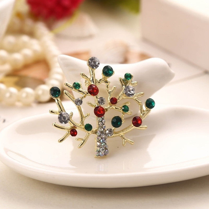 New Christmas Ornaments Brooch Rhinestone Christmas Tree Brooch
