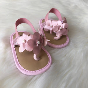FLOWER GIRL PINK CRIB WALKER SANDALS