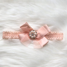 Load image into Gallery viewer, Grey and Pink Baby Bling Pearl Hairband