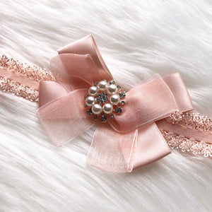 Grey and Pink Baby Bling Pearl Hairband