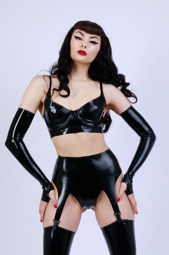 Extra Detail Long Fingerless Latex Gloves