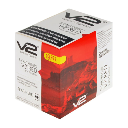 V2 Red 1.8% Nicotine 5 Pack E-Cig Flavor Cartridges