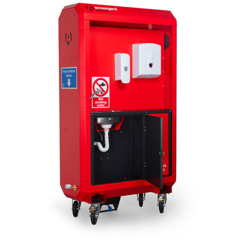 SaniStation Pro: An all in one, customisable, mobile station for sanitising and mains fed handwashing.