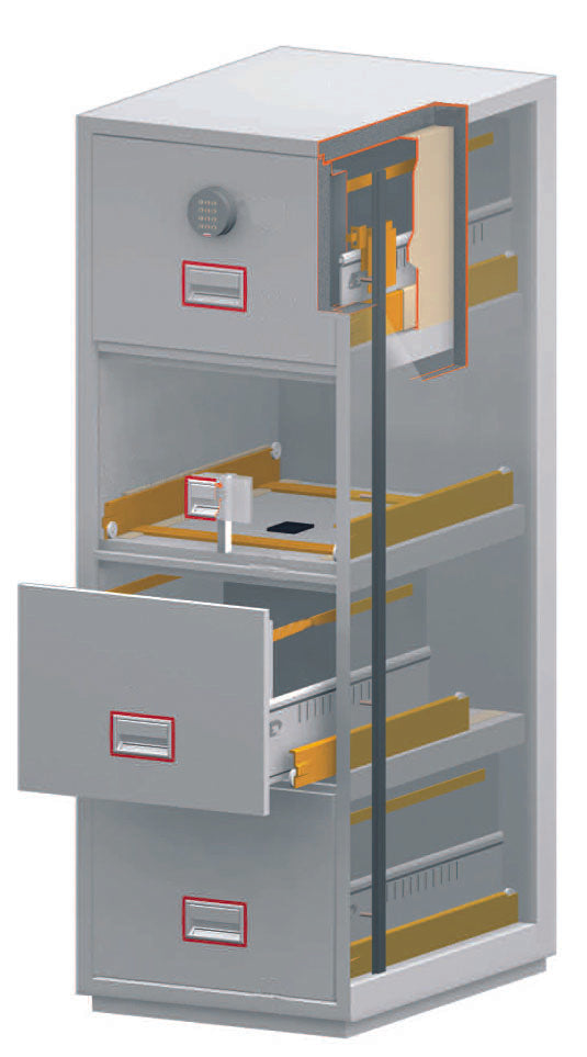 Phoenix World Class Vertical Fire File FS2252F 2 Drawer Filing Cabinet with Fingerprint Lock - Buy Safes Online Co. UK