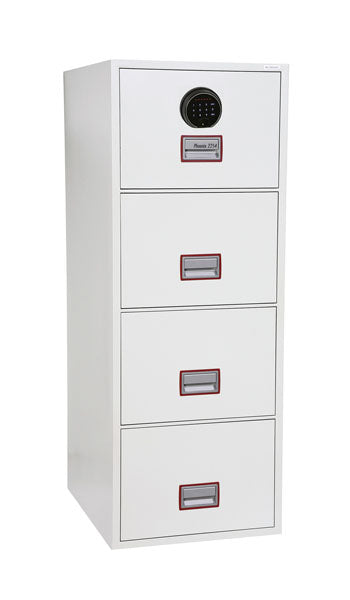Phoenix World Class Vertical Fire File FS2254F 4 Drawer Filing Cabinet with Fingerprint Lock - Buy Safes Online Co. UK