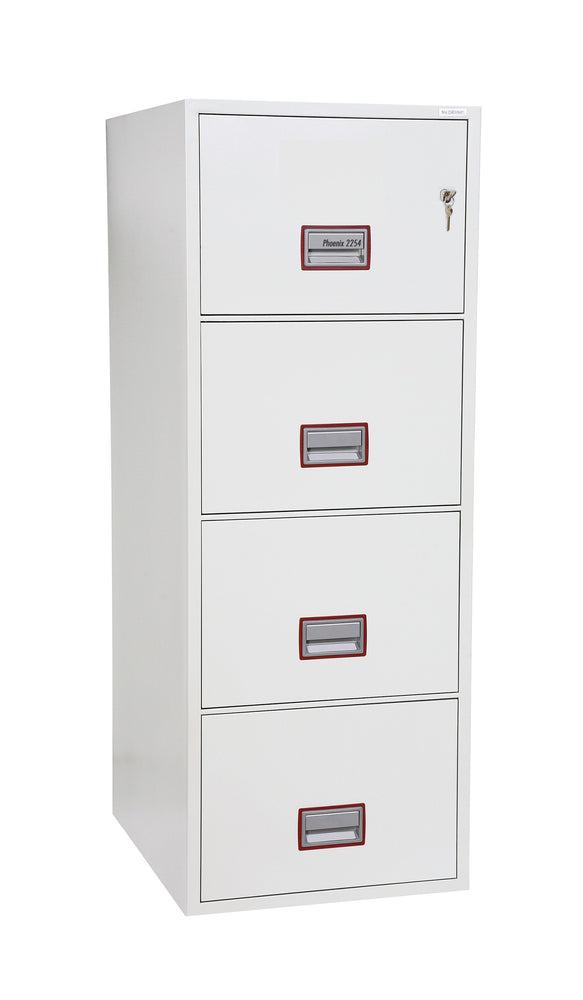 Phoenix World Class Vertical Fire File FS2254K 4 Drawer Filing Cabinet with Key Lock - Buy Safes Online Co. UK