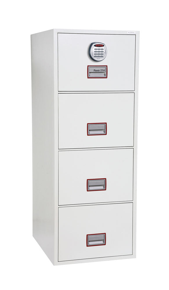 Phoenix World Class Vertical Fire File FS2264E 4 Drawer Filing Cabinet with Electronic Lock - Buy Safes Online Co. UK