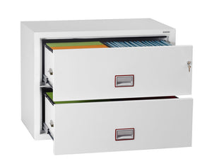 Phoenix World Class Lateral Fire File FS2412K 2 Drawer Filing Cabinet with Key Lock - Buy Safes Online Co. UK