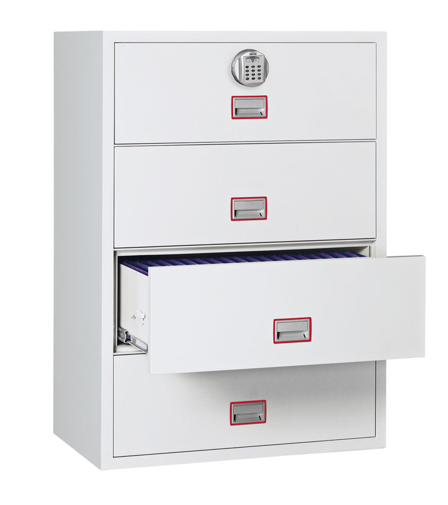 Phoenix World Class Lateral Fire File FS2414E 4 Drawer Filing Cabinet with Electronic Lock
