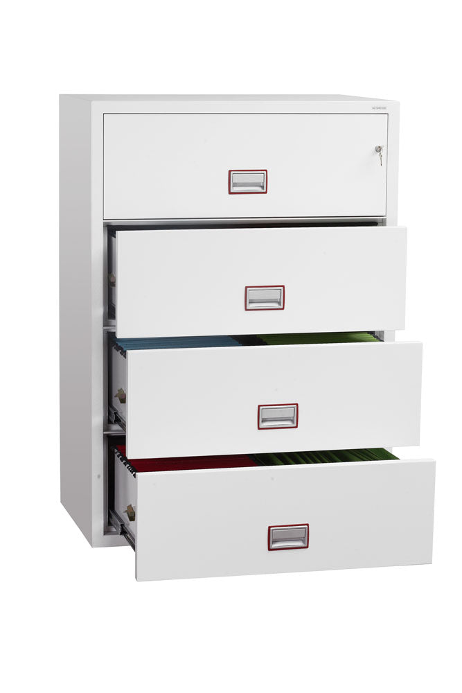 Phoenix World Class Lateral Fire File FS2414K 4 Drawer Filing Cabinet with Key Lock - Buy Safes Online Co. UK