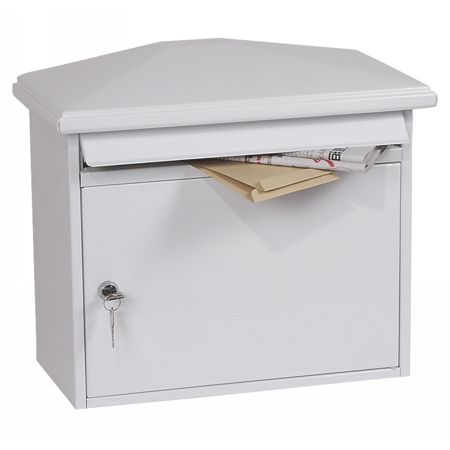 Phoenix Libro Front Loading Mail Box MB0115KW in White with Key Lock