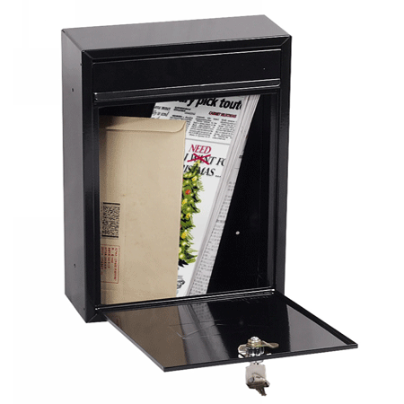 Phoenix Letra Front Loading Mail Box MB0116KB in Black with Key Lock - Buy Safes Online Co. UK