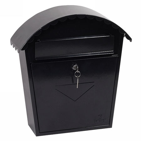 Phoenix Clasico Front Loading Mail Box MB0117KB in Black with Key Lock - Buy Safes Online Co. UK