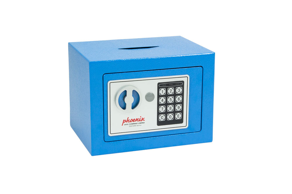 Phoenix Compact Home Office SS0721EBD Blue Security Safe with Electronic Lock & Deposit Slot - Buy Safes Online Co. UK
