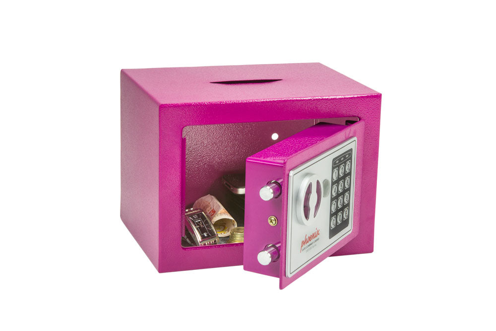Phoenix Compact Home Office SS0721EPD Pink Security Safe with Electronic Lock & Deposit Slot - Buy Safes Online Co. UK