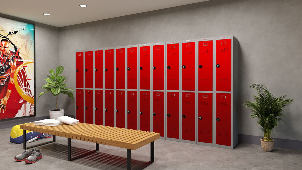 Phoenix PL Series PL2260GRC 2 Column 4 Door Personal Locker Combo Grey Body/Red Doors with Combination Locks