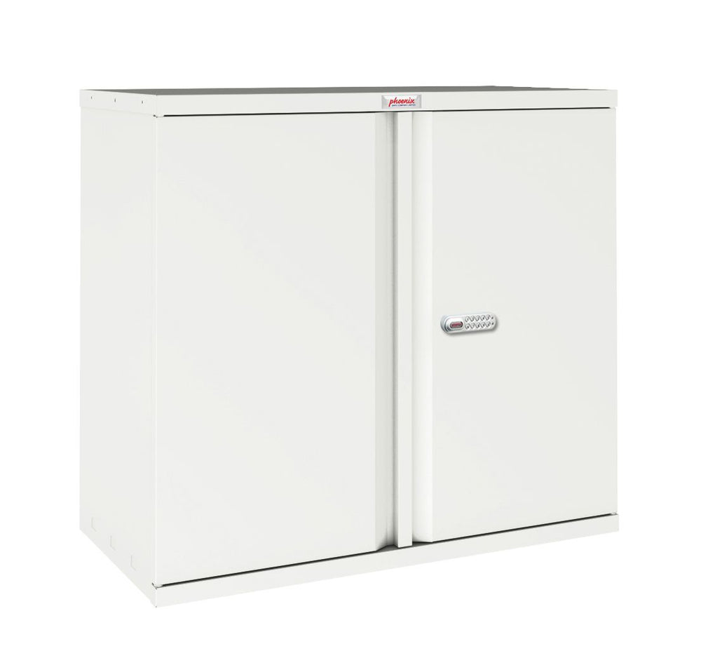 Phoenix SC Series SC1891WE 2 Door 4 Shelf Stationery Cupboard in White with Electronic lock