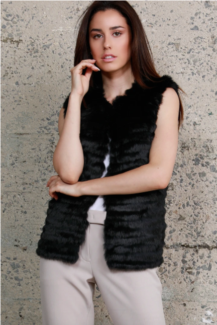 Rabbit Fur Vest - Black