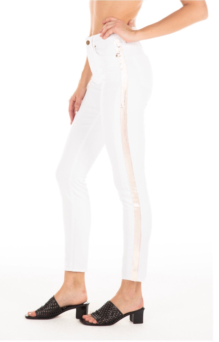Gwen Crop - Whiteout w/ Stripe