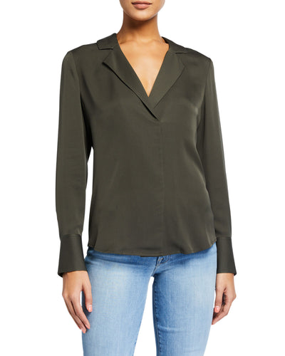 Fitted Notch Collar Top