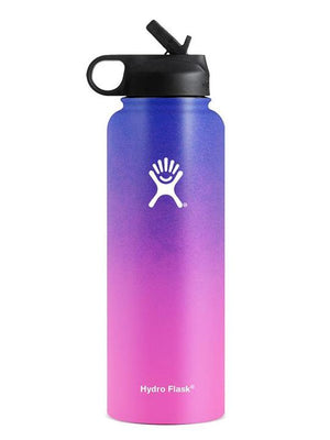 Hydro Flask 40 oz Ombre Wide Mouth W/ Straw Lid Water Bottle Purple-Pink
