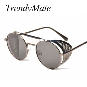 Retro Steampunk Sunglasses Round Designer Steam Punk Metal Shields Sunglasses
