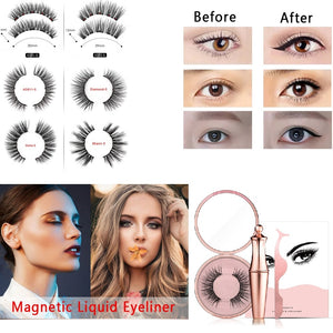 New 3in1 Matte Magnetic Eyeliner False Eyelashes with Magne and Tweezers Waterproof Lasting Easy To Wear