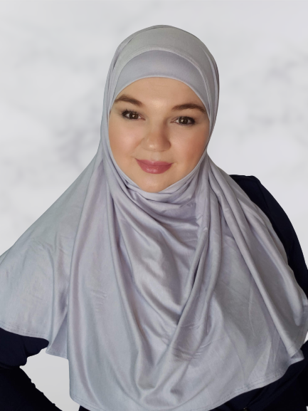 Silver gray instant shawl