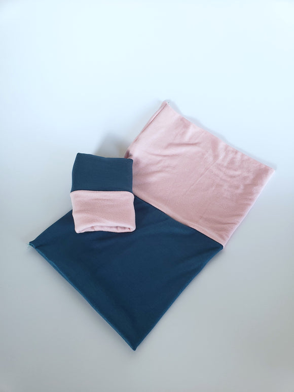 Teal blue soft pink reversible undercap