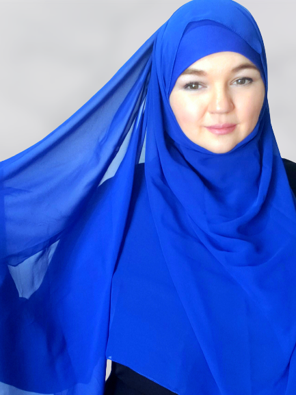 Rich royal blue chiffon shawl hijab