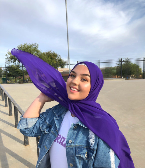 Deep violet purple chiffon shawl