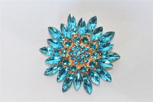 Aqua blue gold hijab pin brooch accessory flower Maida's Hijab World
