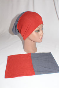 Dark smoke gray brick red reversible tube bonnet