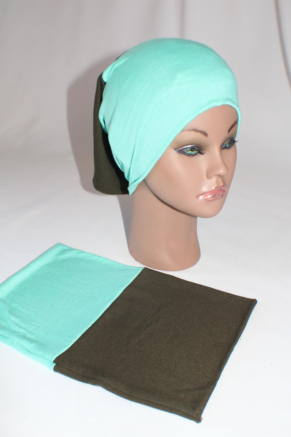 Bright mint green dark olive green reversible undercap tube bonnet