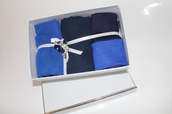 Hijab gift box set chiffon handmade navy blue Maida's Hijab World