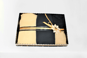 Maida's Hijab World gift box set Eid solid black yellow elegant classy staylish  chiffon gift set box hijabs handmade