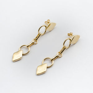 Diamond Drop Earrings - Gold Plated