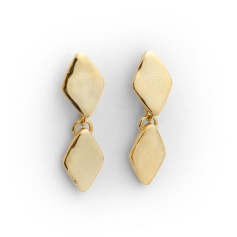 Double Diamond Earrings - Gold Plated