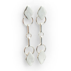 Diamond Drop Earrings - Sterling Silver