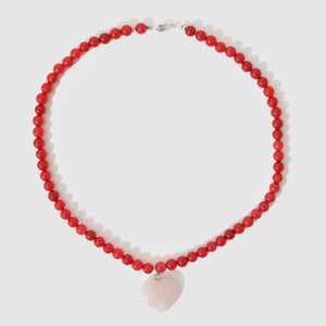 Holiday Beaded Necklace - Red