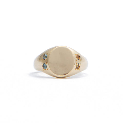 Oval Signet Ring with Stones