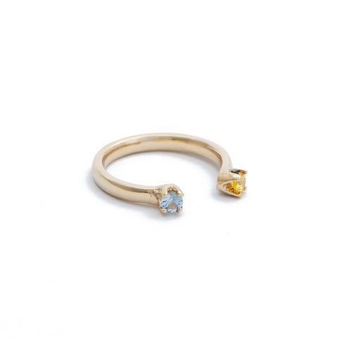 Gold Open Ring with Blue and Yellow Stones