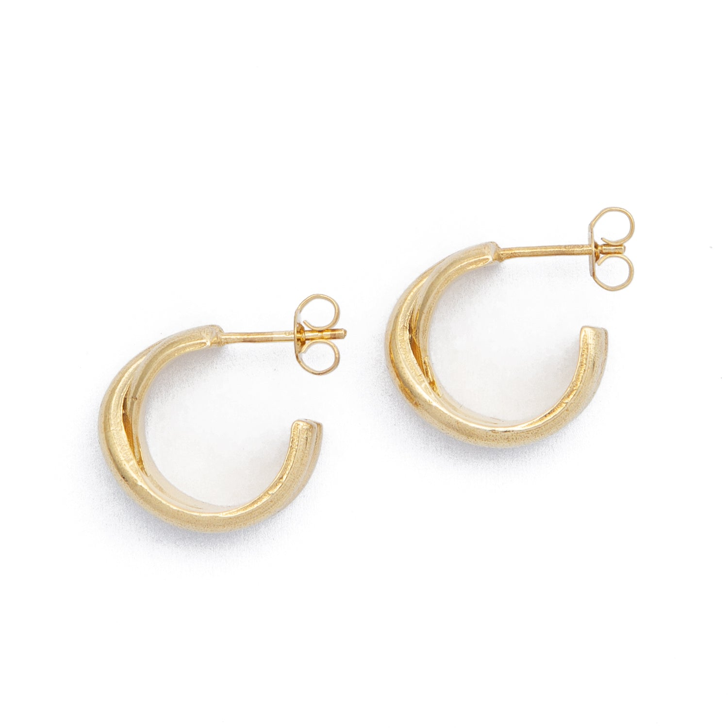 Cross Over Hoops - Gold