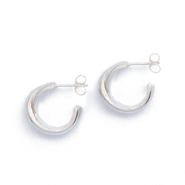 Cross Over Hoops - Sterling Silver