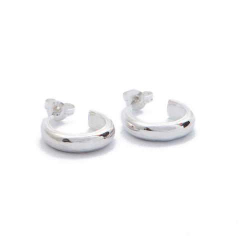 Sterling Silver Half Round Hoops