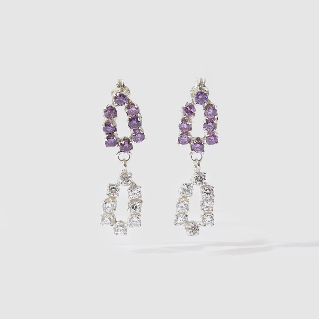 Double Evening Earrings - Purple